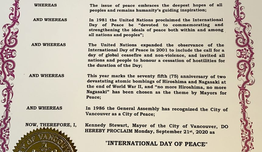 City of Vancouver Proclaims International Day of Peace